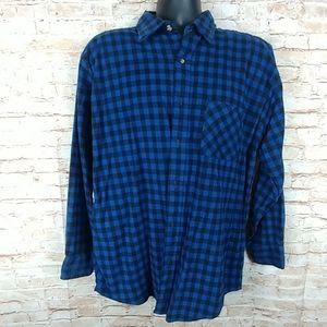 Puritan 100% cotton Flannel blue/black 1 pocket L